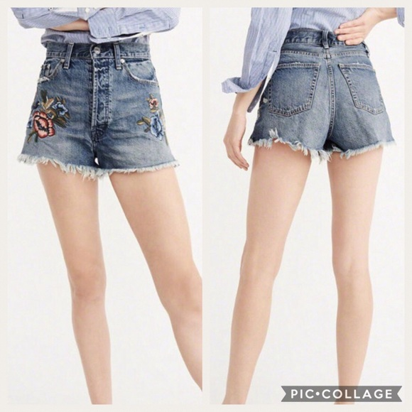 high waisted jean shorts abercrombie